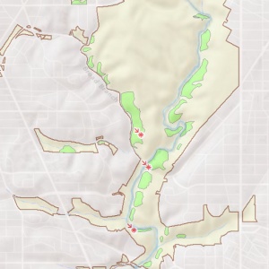 Location of the Oak – Beech / Heath Forest in Rock Creek Park
